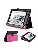 GMYLE(TM) Black PU Leather Hot Pink Interior Slim Folio Magnetic Flip Stand Case Cover with Wake Up Sleep Function for Barnes & Noble Nook HD+ Plus 9 inches Tablet