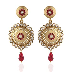 I Jewels Tradtional Handcrafted Kundan Earrings for Women(Maroon)(E2089M)