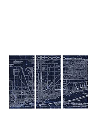 Oliver Gal Chicago Railroad Blueprint Map Triptych Canvas Art
