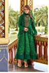 Green Cotton and Net Anarkali Suit