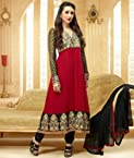 Valuze-Magical Karishma Kapoor Maroon Embroidered Georgette Anarkali Suit