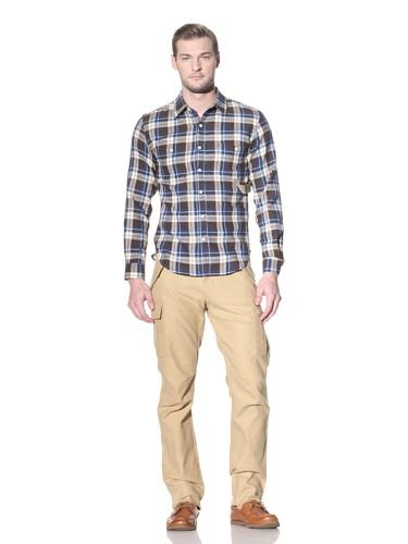 Creep Men's Plaid Button-Up Shirt (Blue Check)