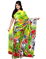 Yomeeto Georgette Fabric Yellow Coloured Printed Saree
