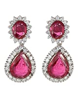 Be You Attractive Red Colour Diamond Look Rhodium Plated Silver Drop Earring for Women