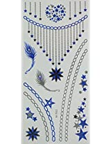 Spestyle Temporary Jewelry Tattoos Blue And Silver And Black Metallic Jewelry Tattoos Jewelry Chain, Feathers And Stars