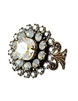 Liz Palacios Antique Gold Plated Swarovski Crystal Adjustable Flower Ring