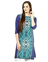 Jaipur Kurti's Pure Cotton 3/4 Sleeve Terquoise Blue Kurti