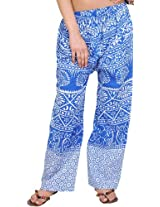 Exotic India Casual Trousers from Pilkhuwa with Printed Palm Trees - Color Skydiver BlueGarment Size Free Size