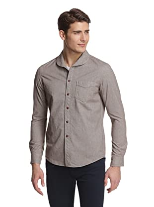 Façonnable Tailored Denim Men's Shawl Collar Flannel Shirt (Brown)