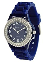 Geneva Platinum Silicone Crystal Jelly Watch