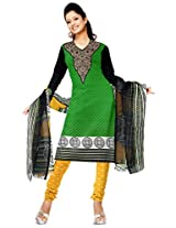 Sonal Trendz Green olor Embroidery Semi-Stitched Suit.