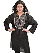 Exotic India Casual Kurti with Sequins Embroidery on Neck - Color Caviar BlackGarment Size Free Size