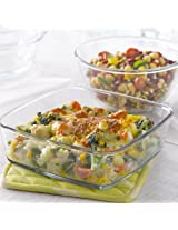Borosil IH77GS02702 Mixing Bowl and Square Dish with Lid Set, 2-Pieces