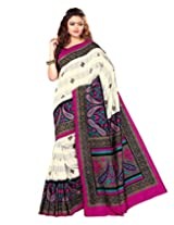 Sangam Saree Womens Tusser Magenta Cottan Patta Print Saree