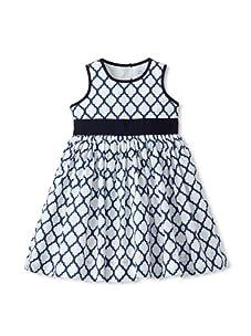 Baby CZ Girl's Sleeveless Belted Dress (White/navy)