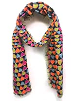 ScarfKing Heart Printed Women Polyester Scarf-Multi Black