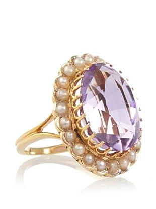 Doyle & Doyle Vintage Amethyst & Pearl Oval Cut Ring (Gold)