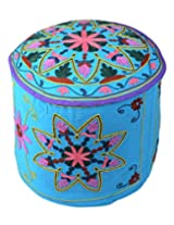 Classic Ottoman Sky Blue Cotton Floral Embroidered Pouf Cover By Rajrang