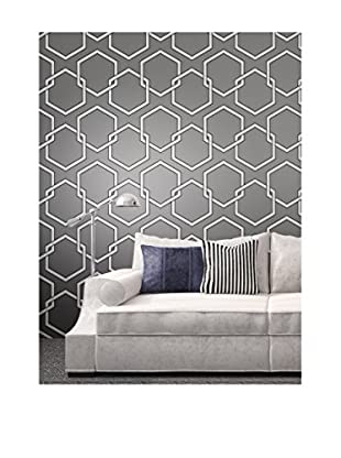 Tempaper Honeycomb Removable Wallpaper, Grey/White/Black