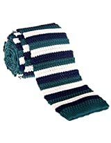 "Retreez Elegant Three Colors Stripes Men's 2.4"" Skinny Knit Tie - Navy Blue and Dark Green and Cream"