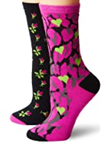 Betsey Johnson Women's 2 Pair Packs Classic Crew Socks In Gift Box, Black Multi, One Size