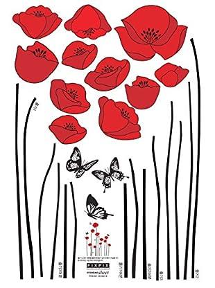 Ambiance Sticker Wandtattoo Red Poppy Flowers