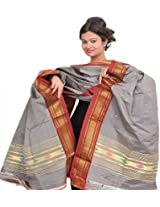 Exotic India Frost-Gray Paithani Dupatta with Woven Bootis and Golden Zar - Grey