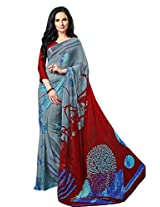 Grey Color Georgette Printed Saree with Blouse 7044