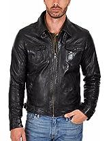 HugMe.fashion Men's Leather Jacket (JK26_Black_4XL, Black, 4XL)