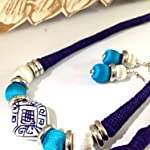 Turquoise and ink blue bead necklace with earrings