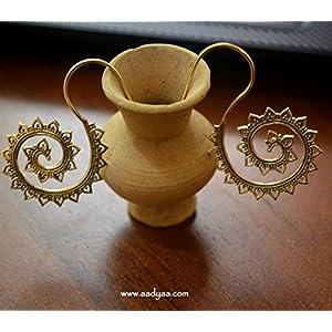 Desi Soul Brass Spiral S Shape Earring