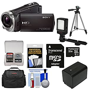 Sony Handycam HDR-CX330 1080p Full HD Video Camera Camcorder with 32GB Card + Battery + Case + LED Video Light + Tripod Kit