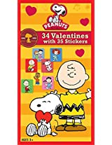 Paper Magic Peanuts Deluxe Valentine Exchange Cards with Bonus Stickers (34 Count)