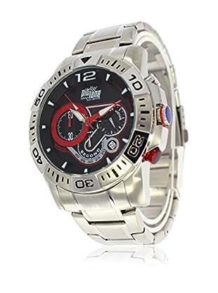 Pit Lane Uhr mit Miyota Uhrwerk Pl-1012-1 silberfarben 45 mm