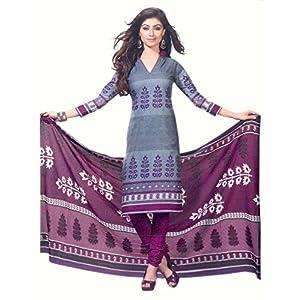 SGC- Purple cotton unstitched churidar kameez with dupatta - SH-11523
