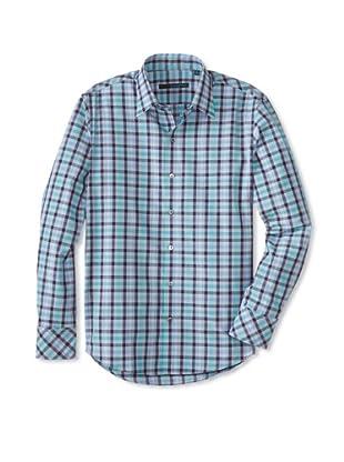 Zachary Prell Men's Flaig Checked Long Sleeve Shirt (Teal/Blue)