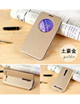 Defender Smart Leather Sensor Quick Window Flip Cover Case with Back Stand For India Asus Zenfone 6 A600CG - GOLD