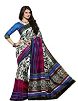 White & Pink Colour Bhagalpuri Casual Wear Paisley & Lining Printed Saree 12522
