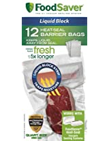 FoodSaver Liquid Block Heat-Seal Quart Bags, 12 Count