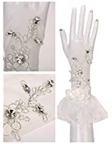 Passat 33CM Long Lace Fingerless Gloves White Wedding Gloves with Luxury Crystal