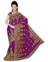 A.V.Fashion Embroidered Saree (1305_Purple)