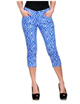 Fashion Cult Women's Slim Fit 3 4th Slim Capri (1844_Light Blue_26)