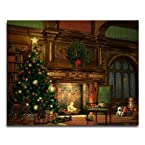 Wall Carnation Christmas Tree LED Canvas Print