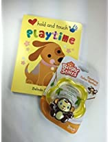 Baby Gift Bundle 2 Items: Bright Starts Soothing Monkey Safari Teether Toy And Hold And Touch Playtime Book