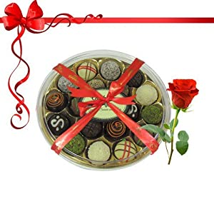 18pc Dessert Lovers Truffle Gift Box with Red Rose - Chocholik Belgium Chocolates