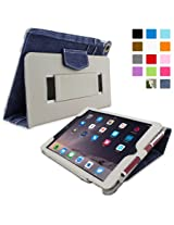 Snugg iPad Air 2 Case Smart Cover with Kick Stand & Lifetime Guarantee (Blue Denim Leather) for Apple iPad Air 2 (2014)
