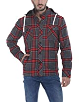 Zobello Men's Hooded Lumberjack Winter Shirt(51045A_Tartan Red/Grey_Medium)