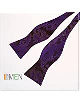 DBA7B25D Brown Purple Paisley Mens Economics Woven Microfiber Self-tied Bow Tie Sale for Wedding By Dan Smith