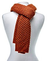 Noble Mount Mens Premium Weave Pattern Scarf - Rust