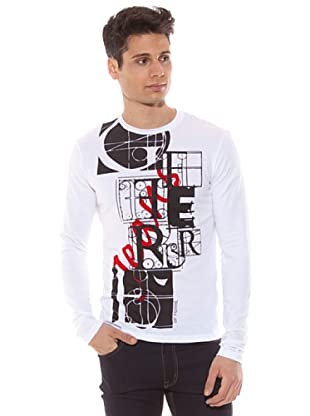 Gianfranco Ferré Camiseta Manga Larga Slim Estampado (Blanco)